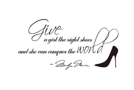 ZooYoo8051-Give-A-Girl-A-Right-Shoes-31-61cm-Marilyn-Monroe-Quote-House-Stickers-Vinyl-Wall
